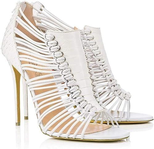 WFheel Sandalias de tacón Alto con tacón de Aguja Sexy, Correas blancoas, zapatos con Forma de Serpiente, Sandalias de Punta Abierta (Color   blanco, Tamaño   34)