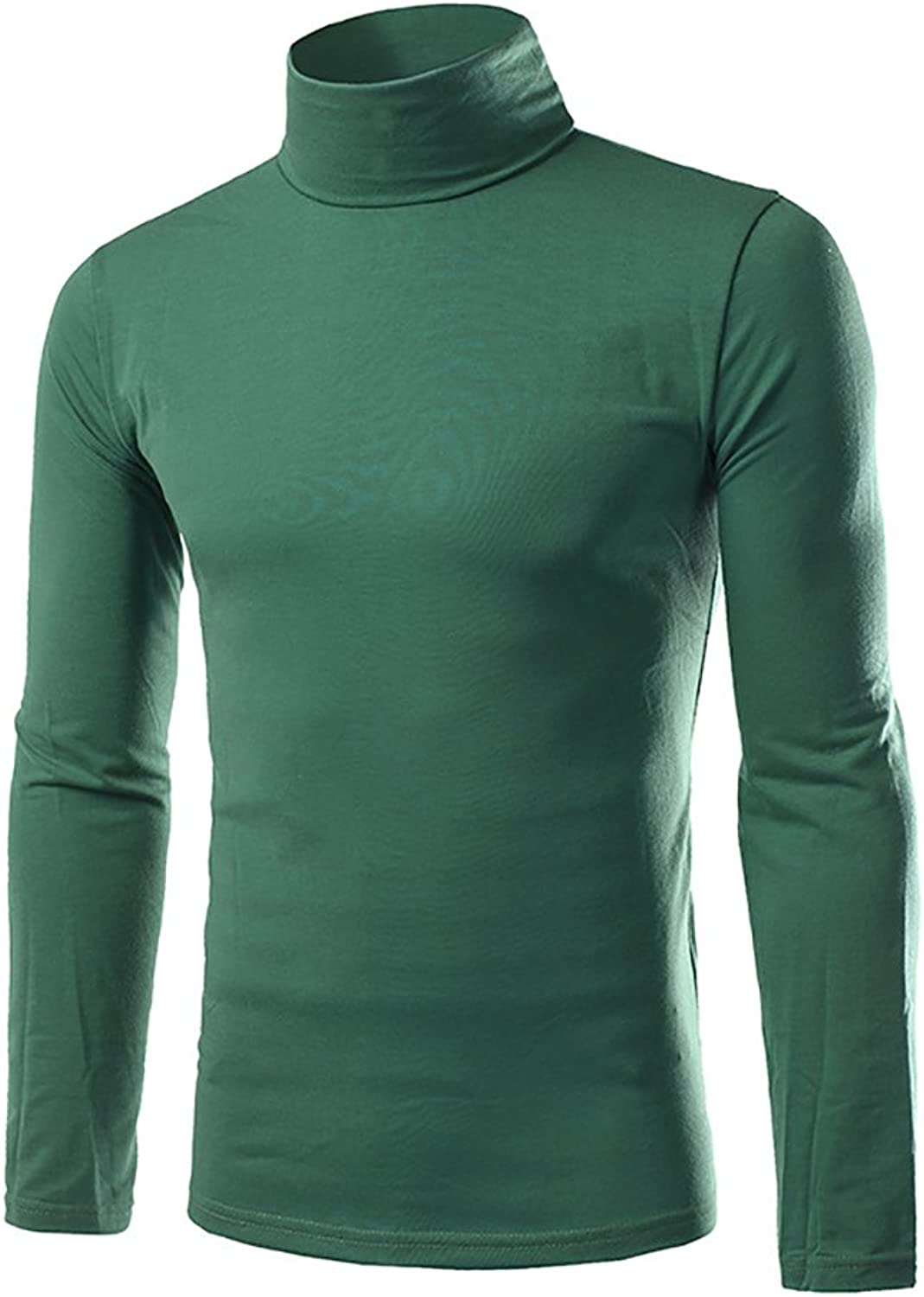 Men's LongSleeved Tops HighNecked Fashion T Shirts Slim Fit Casual Solid colord Clothes White, Red, Green, Black, blueee (color   Green, Size   XL)