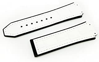 Compatible 26mm x 19mm Hublot Big Bang White Aligator Men's Watch Band Replacement Strap