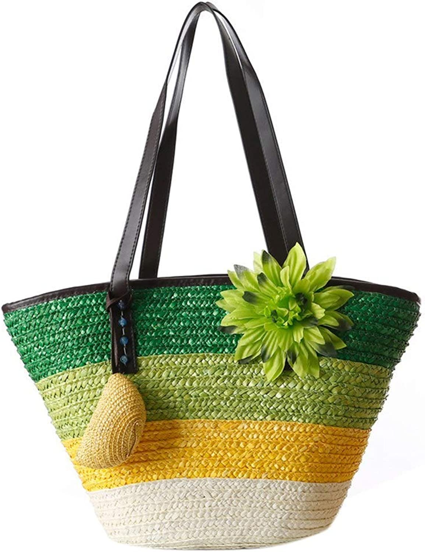 Bloomerang Knitted Straw Bag Summer Flower Bohemian Fashion Women's Handbags color Stripes Shoulder Beach Bag Tote Bags color Green