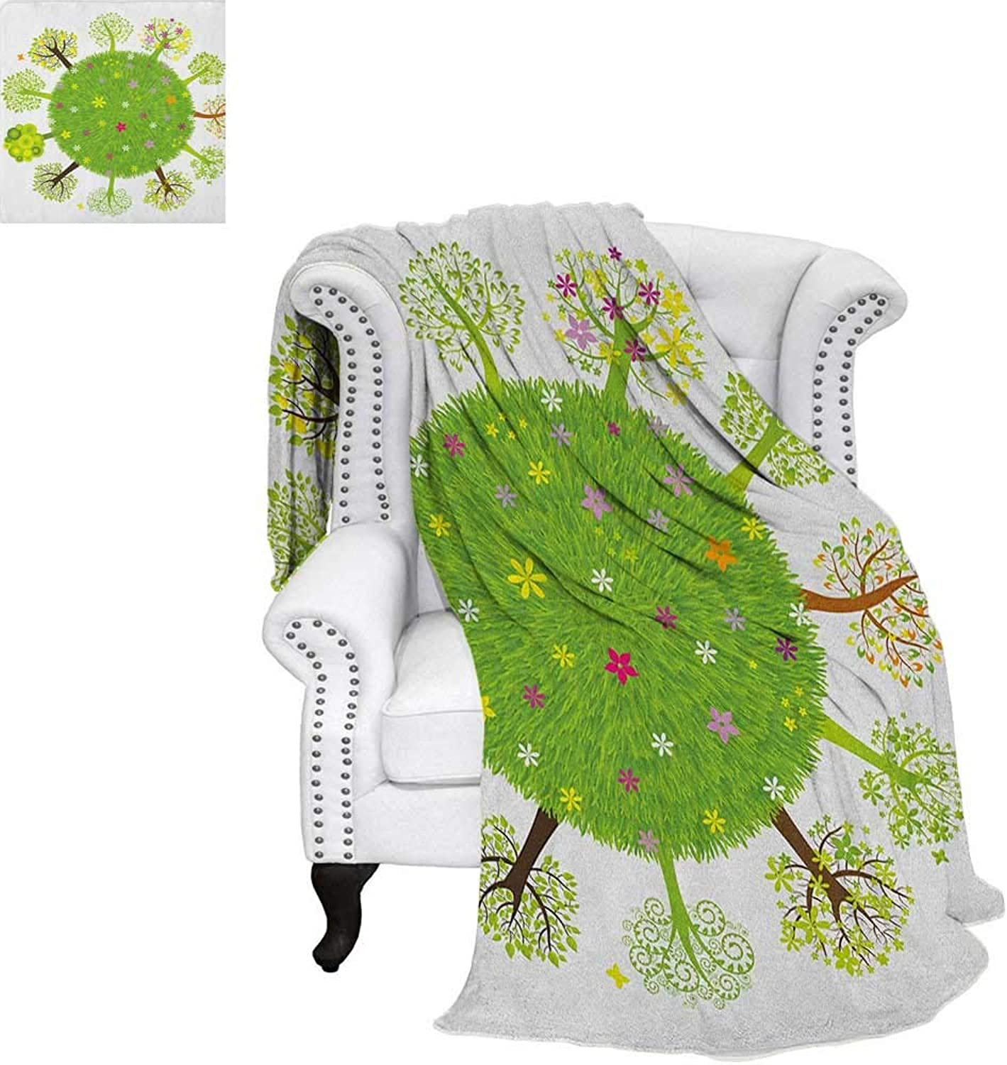 Earthsmall blanketVarious Green Trees Around The World in Full Blossom Spring Season Eco Planet Flowersthin Blanket 60 x50  Multicolor