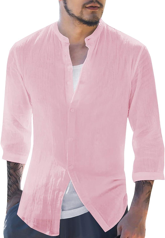 Karlywindow Mens Linen Henley Shirt Beach Yog Long Cotton Sleeve Max 71% Milwaukee Mall OFF
