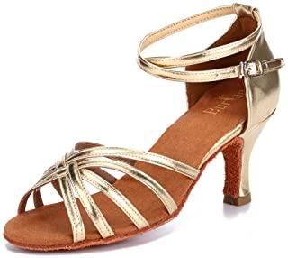Twist - Zapatillas de baile (satén, suela de piel, trenzado en cruz, antideslizantes, con hebilla, talla 7 cm), color Dora...
