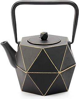 Tea Kettle, TOPTIER Japanese Cast Iron Teapot with Stainless Steel Infuser, Cast Iron Tea Kettle Stovetop Safe, Diamond De...
