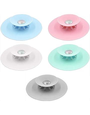 Pubiao 1 Pz Tappi Scarico Vasca da Bagno Aspirazione Tappo Vasca Silicone Universale per Bagno Lavanderia Cucina Accessori per lavelli Blu
