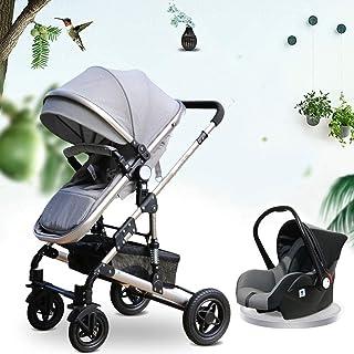 YQLWX Babyvagn 3-i-1 Travel System-High Capacity Landscape Luxury Pram Stroller för nyfödd och småbarn (färg: grå)