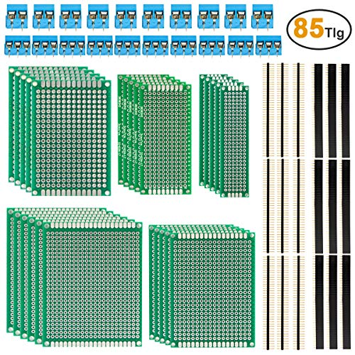 85tlg Lochrasterplatte Leiterplatte Set - ZITFRI Doppelseitig Lochrasterplatte Platine PCB Universal Board Kit inkl. 25pcs Lochrasterplatine+ 40pcs Kopfleiste (40Pin) + 20pcs Screw Terminal