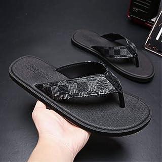 Men'S Slippers, Summer Men'S Flat-Bottom Slippers, Fashionable Plaid Beach Slippers, Outdoor Soft-Soled Non-Slip Slippers