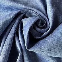 ハンドメイド用生地 150cm巾 リネン100% シャンブレー ブルー 薄地 R0020-227(旧品番 SB-362)