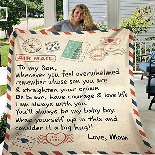 XIANGBEI - Manta con mensaje personalizado, cómoda manta de forro polar para mi hija, hijo, esposa, cartas, colchas de postales de aire, aliento y regalos de amor