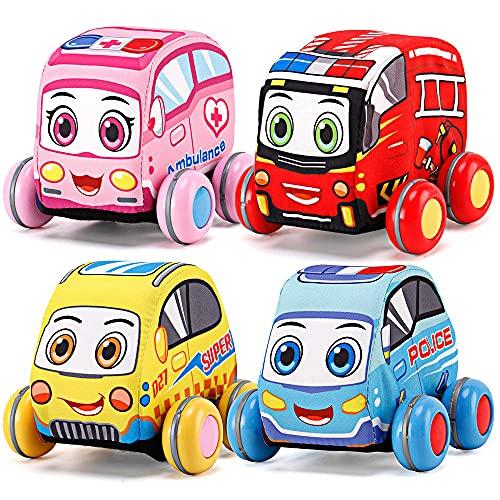 Autoset met pull-back stoffen - zacht speelgoed voor peuters, speelset van 4 stadsvoertuigen (politie, brandweerwagen, ambulance, taxi)