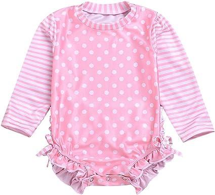 SSZZoo Kids Baby Girl Swimwear Ruffle Butts Dot Striped Long Sleeve Swimsuit Sun Protection