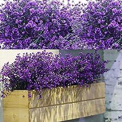 Idea Regalo - 12 Fasci Cespugli di Arbusti Artificiali Artificiali Fiori Piante Resistenti ai Raggi UV Cespugli di Arbusti Decorativi per Composizione Floreale, Centrotavola, Decorazioni Giardino (Viola)