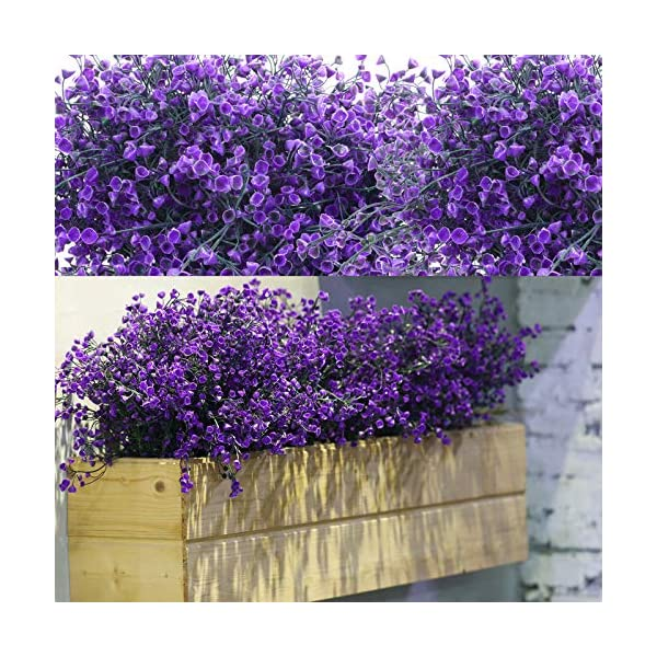 12 Bundles Artificial Shrubs Bushes Artificial Flowers Outdoor UV Resistant Plants Flowers Decorative Artificial Shrubs Bushes for Floral Arrangement, Table Centerpiece, Home Garden Decor (Purple)