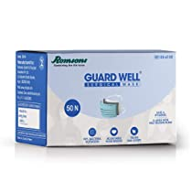 Romsons Guard Well 3 Ply Surgical Face Mask Tie-On Ear Loops, Pack of 1, 50 Pcs