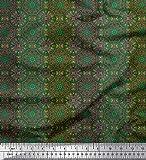 Soimoi Grun Seide Stoff Streifen & Mandala Kaleidoskop