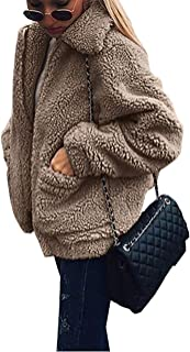 Women's Fashion Long Sleeve Lapel Zip Up Faux Shearling Shaggy Oversized Coat Jacket with Pockets Warm Winter