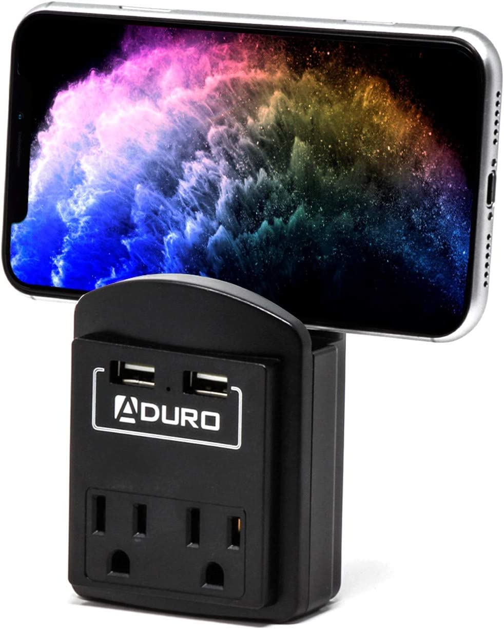 Aduro Surge Protector 2 Outlets Power Strip Station with 2 USB Ports Multiple Outlet Splitter Extender Adapter with Phone Shelf Stand ETL Listed, Black