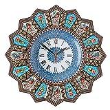 LPUK Reloj de pared de lujo Khatam, colección 1, reloj de sol, hecho a mano, con forma de sol, flores y pájaros, con incrustaciones de madera, diámetro de 32 cm