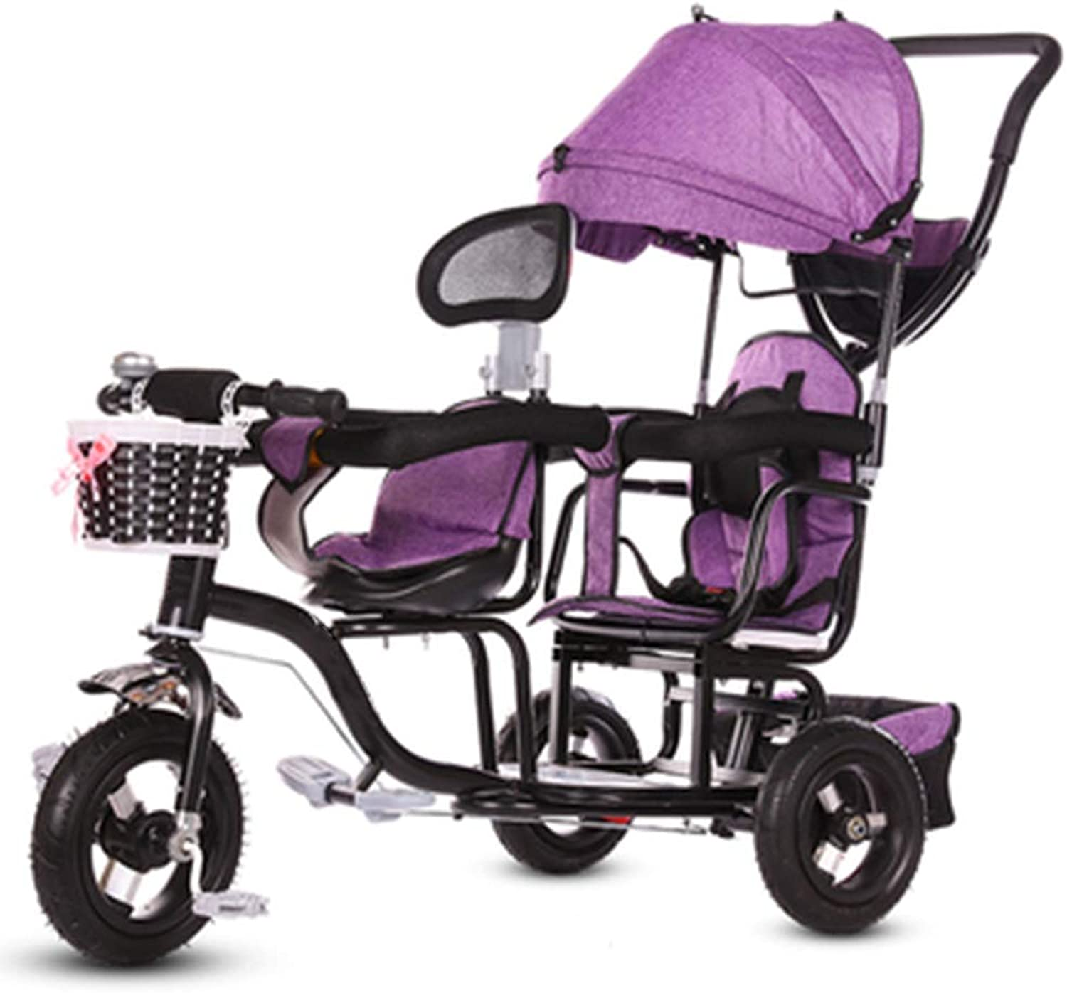 YUMEIGE Trikes Twin Kids Tricycle Baby Stroller Titanium