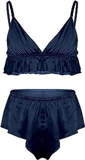 TiaoBug 2PCS Men Sheer Lace Nightwear Bra Tops Skirted Bikini G-String Briefs Underwear Lingerie Set
