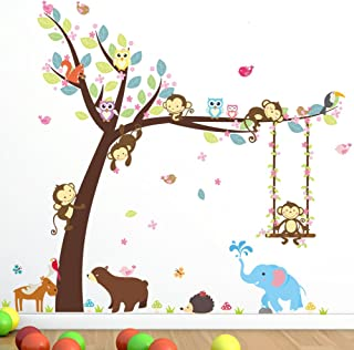 Cartoon Monkey Owls Tree Jungle Animal Theme Wall Art Decal Sticker Mural Decoration for Living Room Nursery Baby Girl Boy Kids Children's Room Bedroom Decor (B)