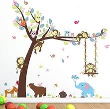 Cartoon Monkey Owls Tree Jungle Animal Theme Wall Art Decal Sticker Mural Decoration for Living Room Nursery Baby Girl Boy Kids Children's Room Bedroom Decor (B)
