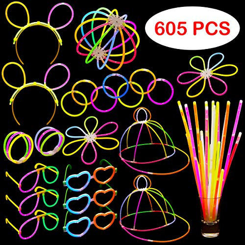 Dragon Too Glow in The Dark Party Supplies - 605 Pieces - Includes Connectors to Create Necklaces, Bracelets, Glasses, Heart Glasses, Hats, Headbands, Balls, Flowers - Glow in The Dark Party Favors