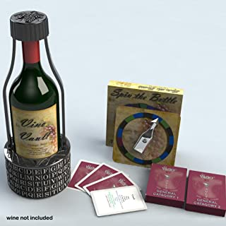 4Thought Products Vino Vault Wine Holder Puzzle Wine Game Deluxe Set with Spin The Bottle Trivia Game