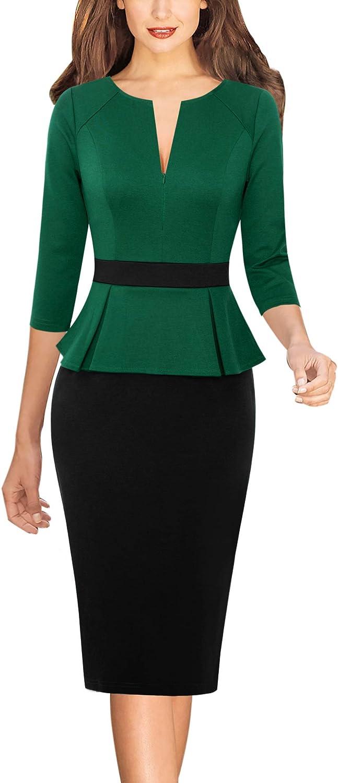 Vfshow Womens Green and Black Peplum Colorblock Slim Front Zipper Work Business Office Bodycon Pencil Sheath Dress 7139 GRN 3XL
