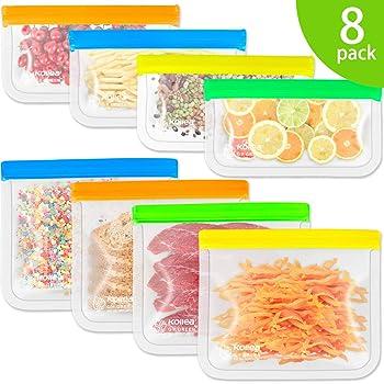 Reusable Snack Bags, Kollea 8 Pack Storage Bags (4 Reusable Sandwich Bags & 4 Reusable Snack Bags), Extra Thick Freezer Bags Leakproof Food Silicone Reusable Storage Bags (8 Pack)