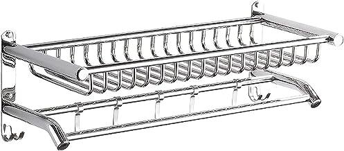 XINHU Badkamer planken opslagrek Wand-gemonteerde roestvrijstalen badkamer planken handdoekenrek met haak 40 cm, 50cm, 60c...