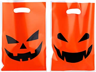 Aneco 72 Pieces Large Halloween Pumpkin Face Bags Trick or Treat Bags Plastic Goodie bags Party Bags for Halloween Party, ...