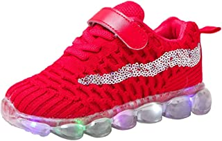 Sunward 1-6 Years Children Kid Baby Girls Boys Bling Led Luminous Sport Run Sneakers Casual Shoes
