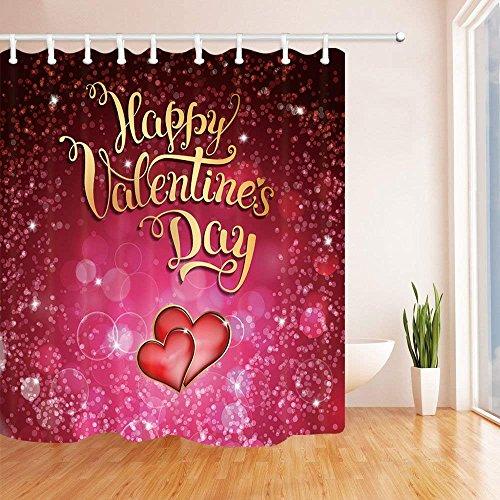 Alla hjärtans dag bad gardin abstrakt konstverk två hjärtor för festliga tål dusch gardiner för badrum