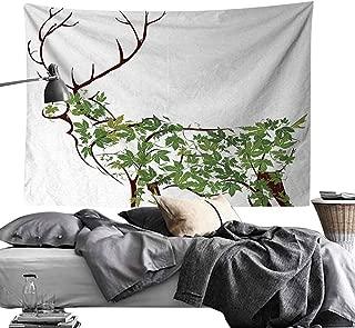 MaureenAustin Hippie Art Tapestry,Antlers,Designer Deer Illustration Elk Leave Greenery Garden Traditional Celebration,Green Brown White Wall Art for Studio Room 50