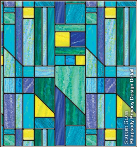 "Rhapsody Privacy Stained Glass Static Cling Decorative Window Film 24"" x 43"""