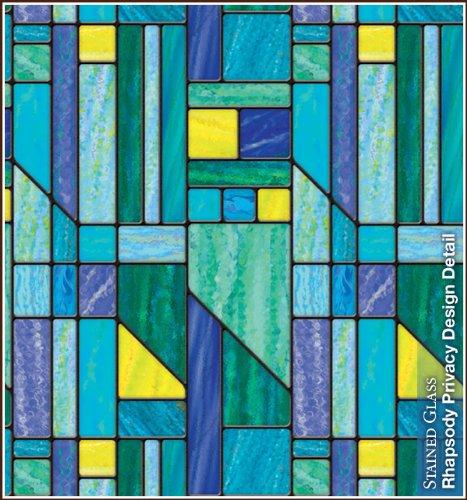 Rhapsody Privacy Stained Glass Static Cling Decorative Window Film 24' x 43'