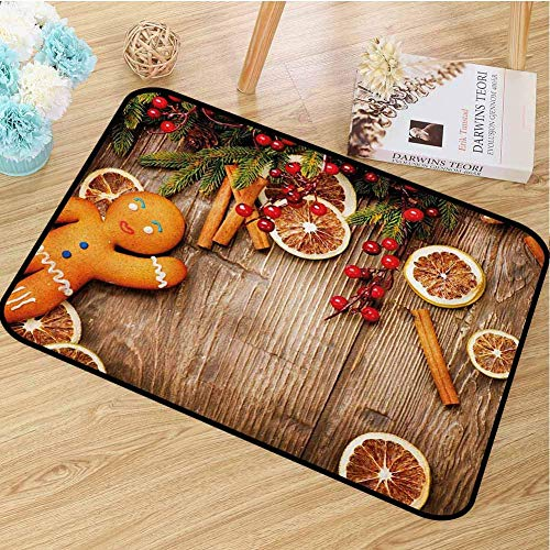 Gingerbread Man Front Door Mat Carpet Rustic Composition with Holly Berry Orange Slice Cinnamon And Biscuit Machine Washable Door Mat W15.7 X L23.6 inch Brown Orange Red 18x30(in)