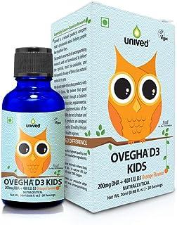Unived Ovegha D3 Kids, Vegan Algae Omega-3 DHA with Plant-Based Vitamin D3, 200mg DHA & 400 I.U. D3, Liquid Dropper, Natur...