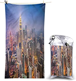 Ahuimin Microfiber Beach Towel, Urban,City Skyline District, 55 x 27.5 Inches Super Absorbent Quick Fast Drying Soft Eco-Friendly Towels for Body Bathroom Travel