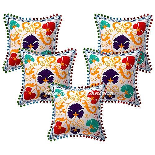 Maniona 5 fundas de almohada Suzani Embrioderadas, fundas de almohada decorativas, fundas de cojín de 40,6 x 40,6 cm
