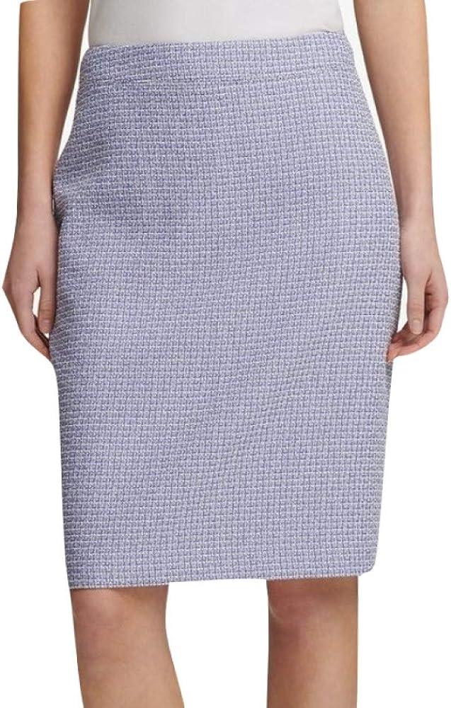DKNY Womens Tweed Metallic Pencil Skirt
