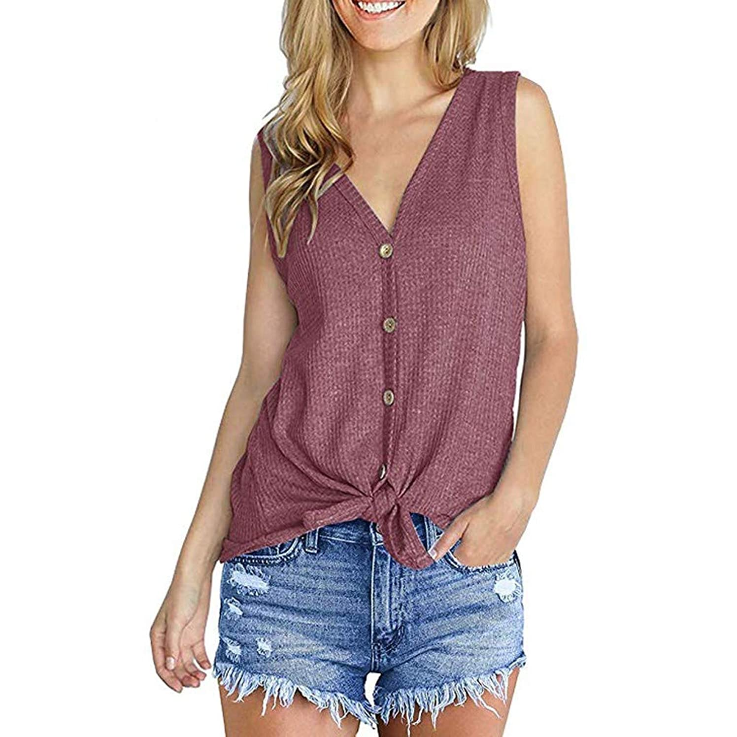 Toponly Womens Casual V Neck Waffle Knit Tank Tops Sleeveless Plain T Shirt Loose Buttons Tee Shirts Summer