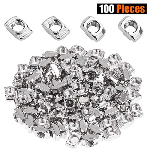 Powlankou 100 Pieces 2020 Series T Nuts, M5 T Slot Nut Hammer Head Fastener Nut, Nickel Plated Carbon Steel for Aluminum Profile
