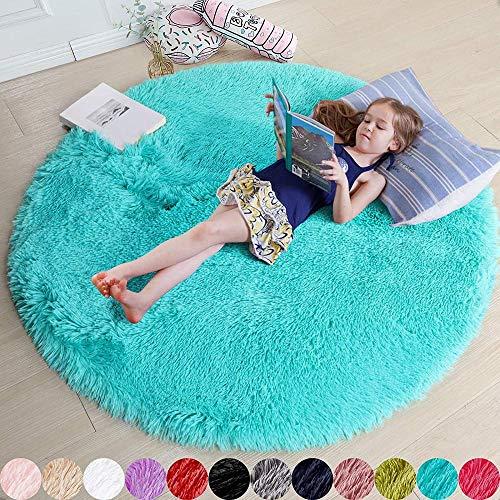 YYQLLXH habitación de los niños Redonda Suave y esponjosa Princesa Castillo Dormitorio Sala de Estar decoración del hogar 40 x 40 cm-40 cm_Blue
