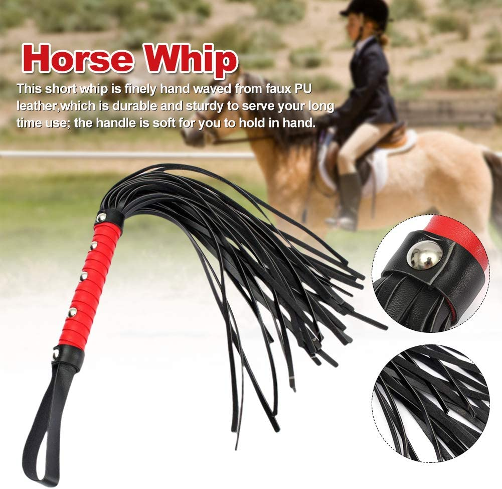Faux PU Leather Props Crop Lightweight Horse Riding Whip Red Handle Accessories Horse Whip