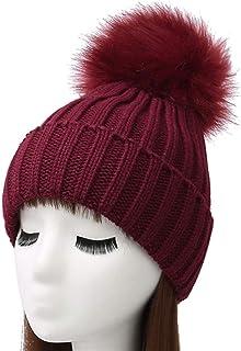 Woogwin Womens Winter Knit Beanie Hat Warm Fleece Pom Pom Slouchy Skull Ski Caps