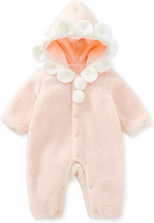 pureborn Unisex Baby Pramsuit Thick Winter Jumpsuit Warm Cotton Robe Snowsuit for Infant Boys Girls 0-24 Months