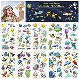 ZERHOK Tatuaggio Spaziale per Bambini, 20 Fogli di Spazio Esterno Adesivi temporanei con Astronave Sistema Solare Astronauta Universo per Bambini Ragazzi Ragazze NASA Bomboniere Compleanno
